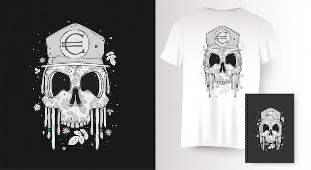 Calavera para estampado de camiseta Vector Premium