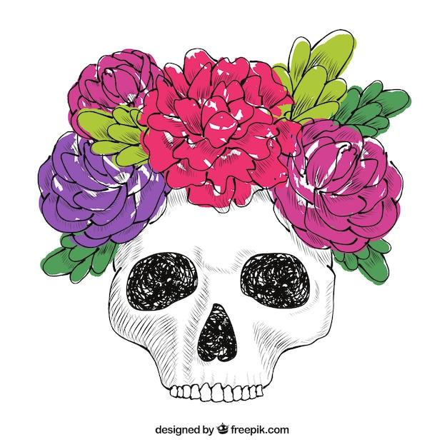 Calavera De Flores Y Hojas Dibujadas A Mano Descargar Vectores Gratis