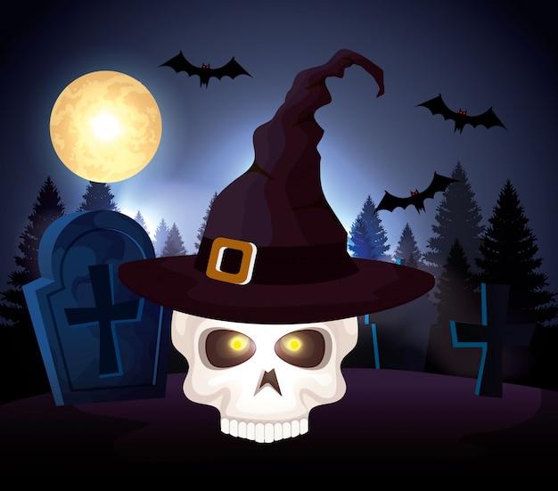 Calavera de halloween con sombrero de bruja en cementerio vector gratuito