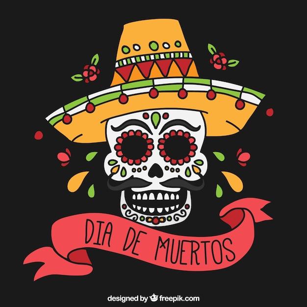 Calavera Mexicana Con Sombrero Y Cinta Descargar Vectores Gratis