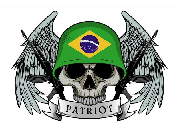 Calavera patriota con bandera brasil casco Vector Premium
