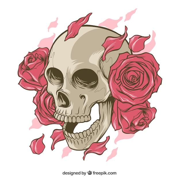 Calavera Con Rosas Y Pétalos Dibujados A Mano Descargar Vectores