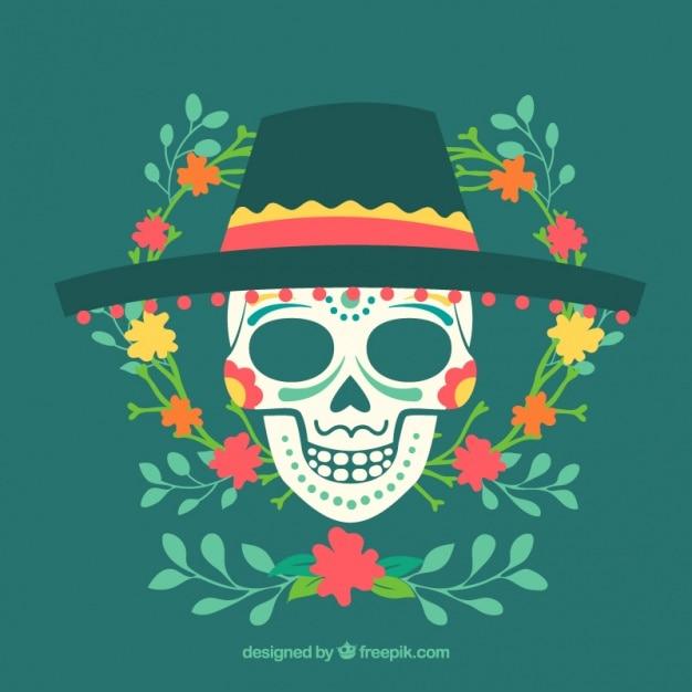 Calavera Con Un Sombrero Y Adornos Florales Descargar Vectores Gratis