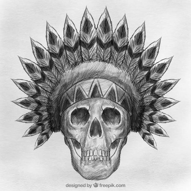 Calavera con sombrero indio dibujado a mano  307f1b8fc3b
