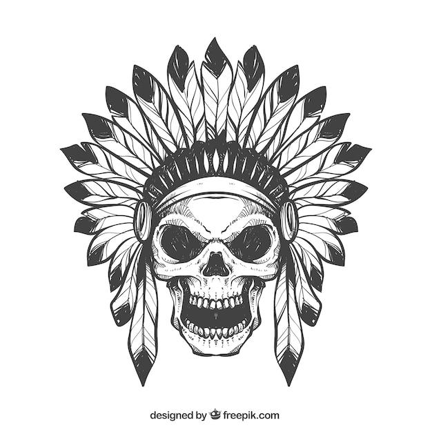 Calavera Con Sombrero De Plumas Dibujadas A Mano Descargar