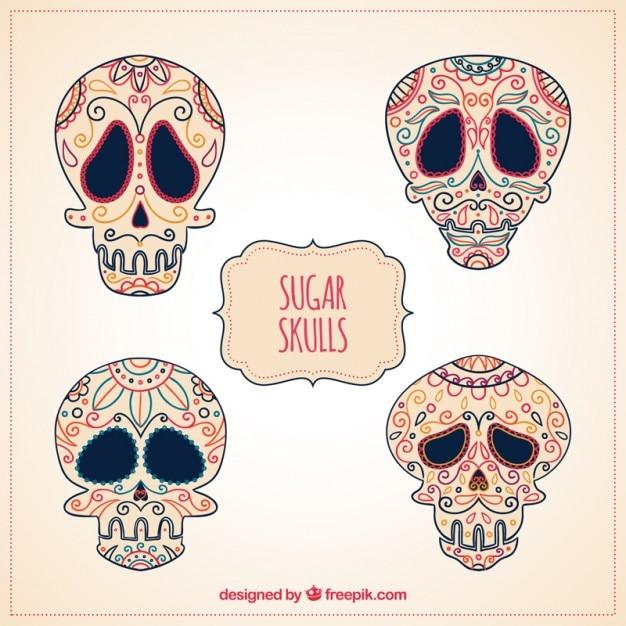 Calaveras de azúcar dibujadas a mano | Descargar Vectores gratis