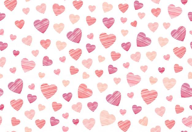 Calcetería corazón de patrones sin fisuras en bordado sobre fondo blanco. Vector Premium