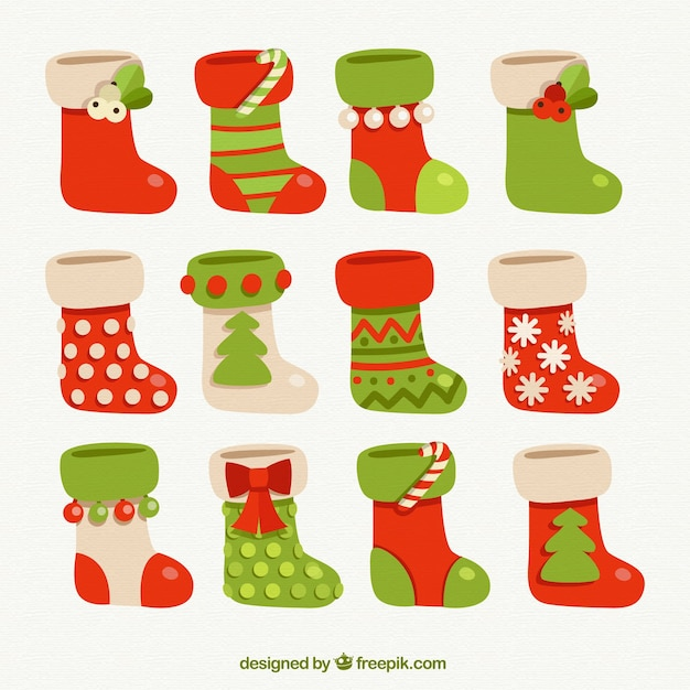 Calcetines de navidad Descargar Vectores Premium