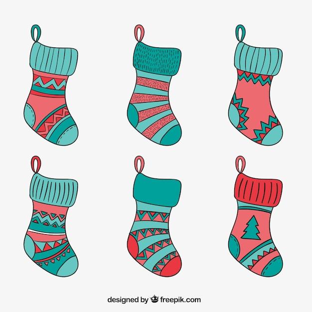 calcetines navide os esbozados descargar vectores gratis