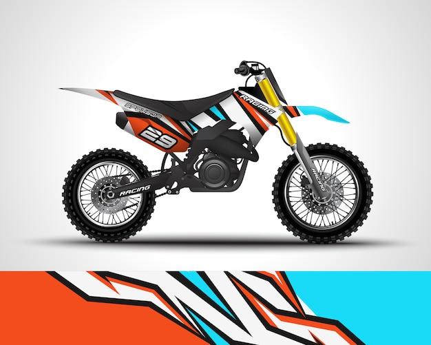 Calcomanía cruzada de motocross y adhesivo de vinilo Vector Premium