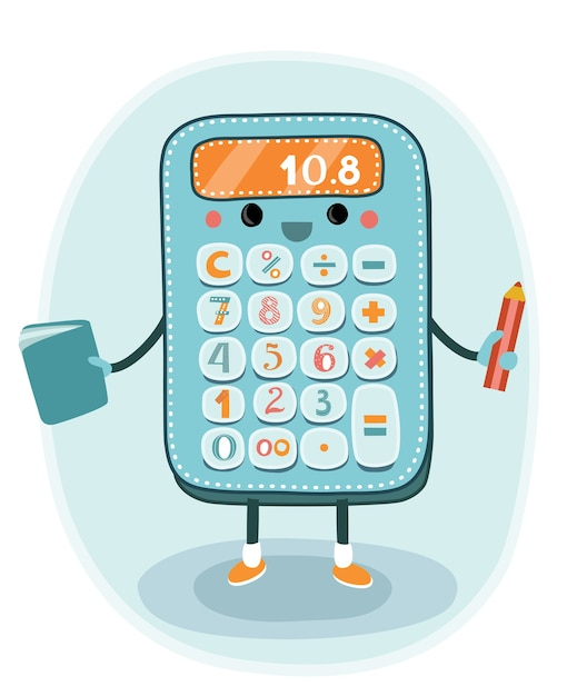 Calculadora electrónica sonriente de dibujos animados Vector Premium