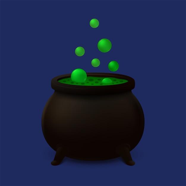 Caldero con baba verde. icono de vector Vector Premium