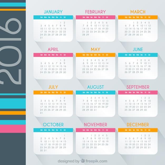 Calendario 2016 de colores | Descargar Vectores gratis