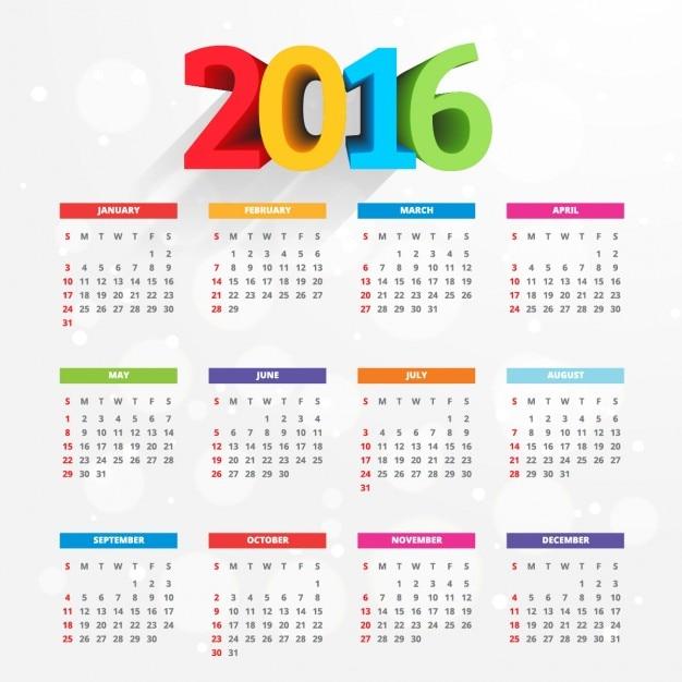 Calendario 216.Calendario De 2016 Con Numeros De Colores Descargar