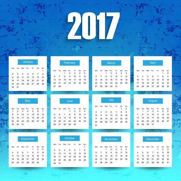 calendario 2017 azul descargar vectores gratis