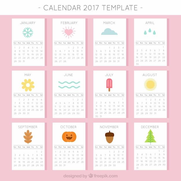 Calendario 2017 Con Elementos Estacionales Descargar