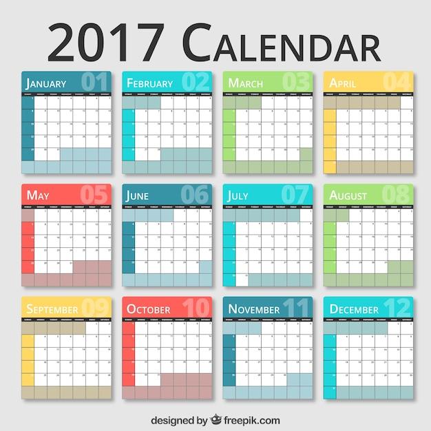 Calendario 2017 de colores | Descargar Vectores gratis