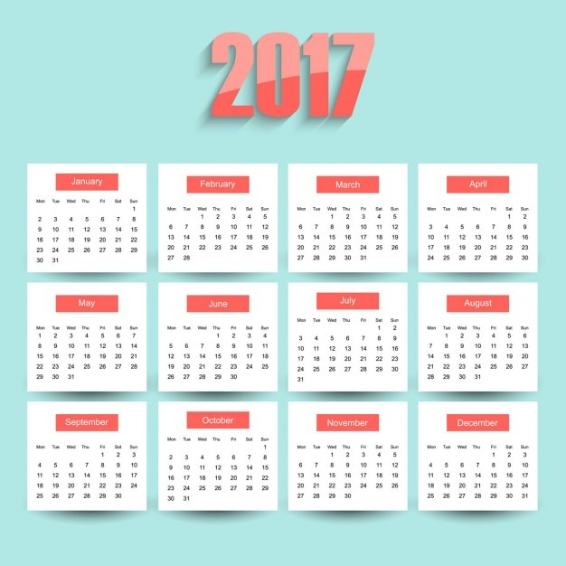 Blue 2017 Calendar