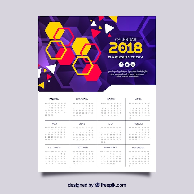 Calendario 2018 con hexágonos coloridos Vector Gratis