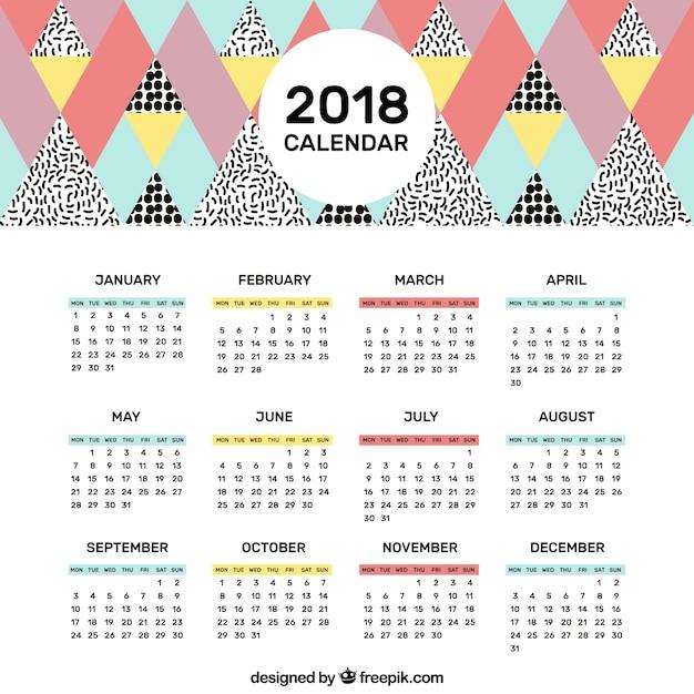 el calendario del 2018