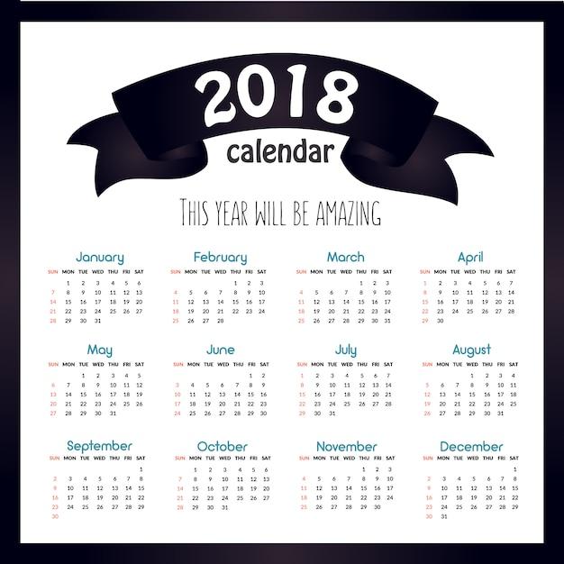 Calendario 2018 Con Frase Vector Premium