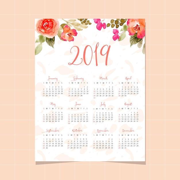 Calendario 2019 Rosa Portugues.Calendario 2019 Con Un Bonito Fondo Floral De Acuarela