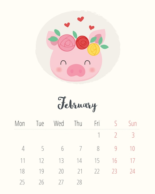 Calendario Febrero 2019.Calendario 2019 Cerdo Lindo Mes De Febrero Descargar Vectores