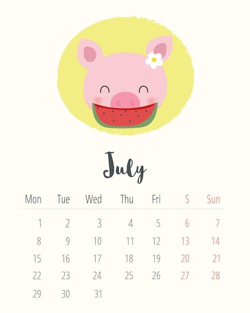Mes De Julio Calendario.Calendario 2019 Cerdo Lindo Mes De Julio Descargar