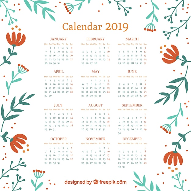 Calendario 2019 Con Elementos Florales Descargar Vectores
