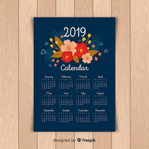 Calendario de 2019 floral vector gratuito
