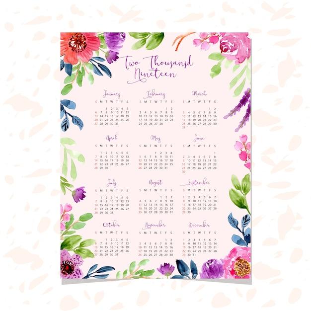 Calendario 2019 con hermoso fondo floral acuarela ...
