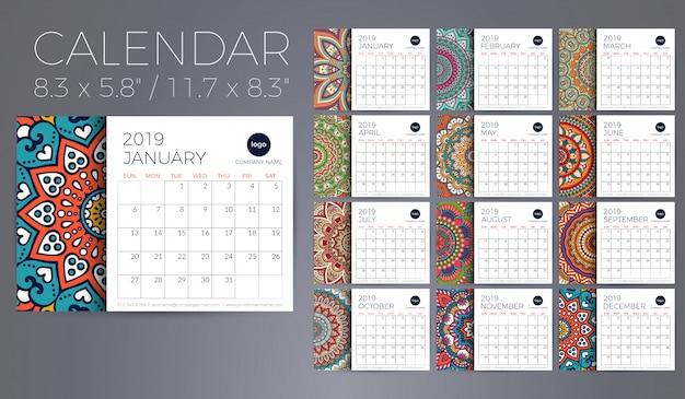 Calendario 2019 con mandalas. vector gratuito
