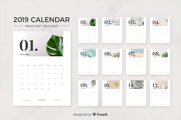 Calendario de 2019 meses vector gratuito