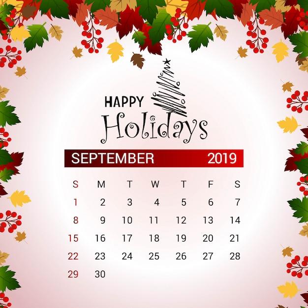 Calendario De Septiembre 2019 Para Imprimir Animado.Calendario 2019 Septiembre Descargar Vectores Premium