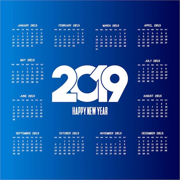 Calendario 2019 con vector de diseño creativo vector gratuito