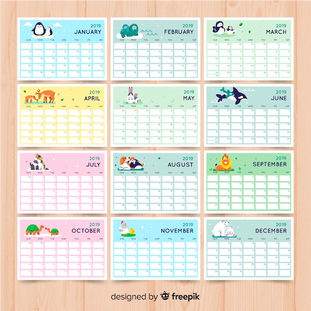 Calendario 2019 Para Imprimir.Calendario 2019 Descargar Vectores Gratis