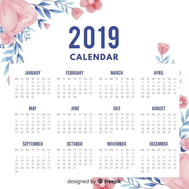 Calendar 2019 Vector Free
