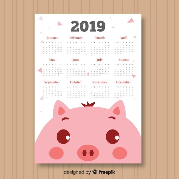 Calendario de 2019 vector gratuito