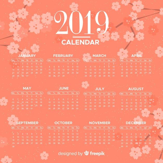 Calendario 2019 vector gratuito