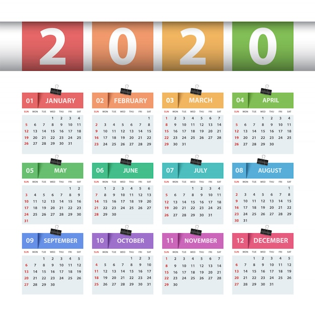 Calendario Del Ano 2020 En Espanol.Calendario 2020 Ano Plantilla De Negocio Descargar