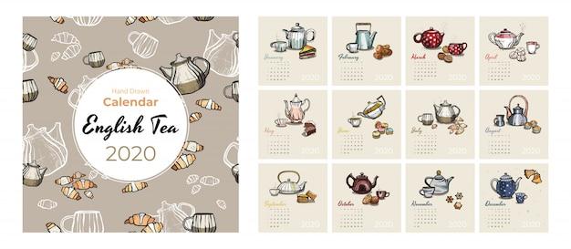 Calendario 2020 comida y té arte conjunto de vectores. calendario de la fiesta del té bosquejado. establecer páginas de 12 meses. teteras, tazas, galletas. Vector Premium