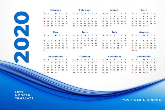 Calendario 2020 vector gratuito