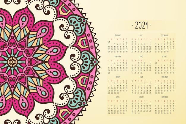 Calendario con adornos de estilo oscuro mandalas vector gratuito
