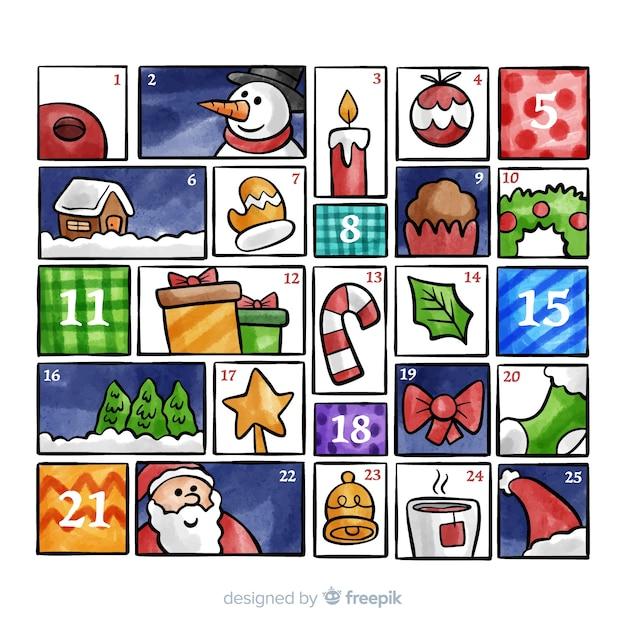 Calendario adviento colorido vector gratuito