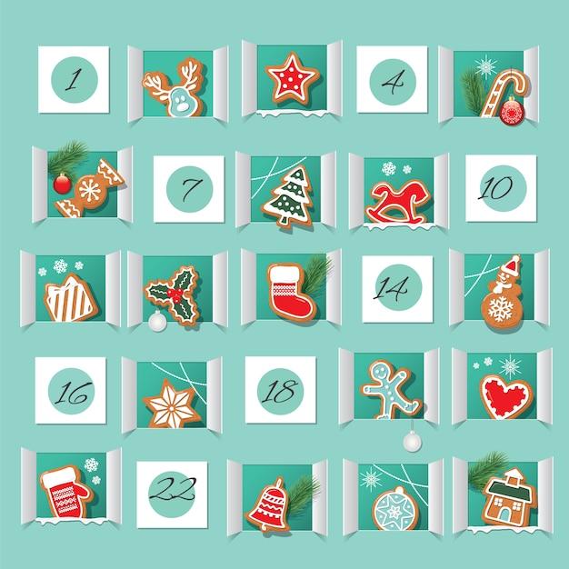 Calendario de adviento decorado. cuenta atrás para navidad. Vector Premium