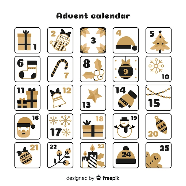 Calendario de adviento detalles dorados vector gratuito
