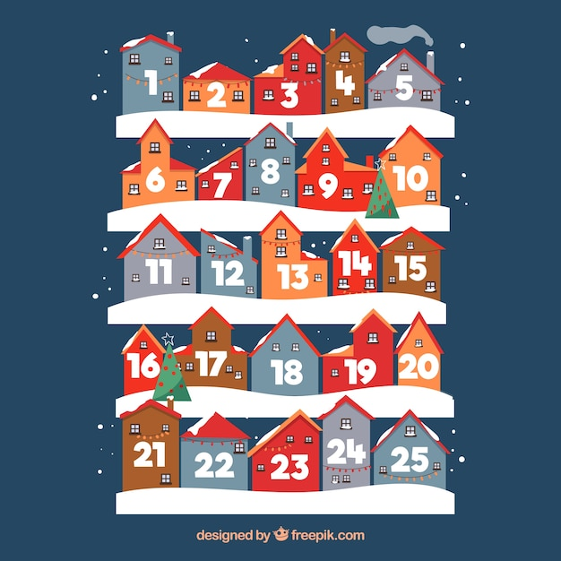 Calendario de adviento con días en forma de casas vector gratuito
