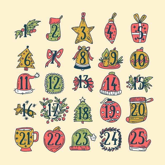 Calendario de adviento dibujado a mano con decoración vector gratuito