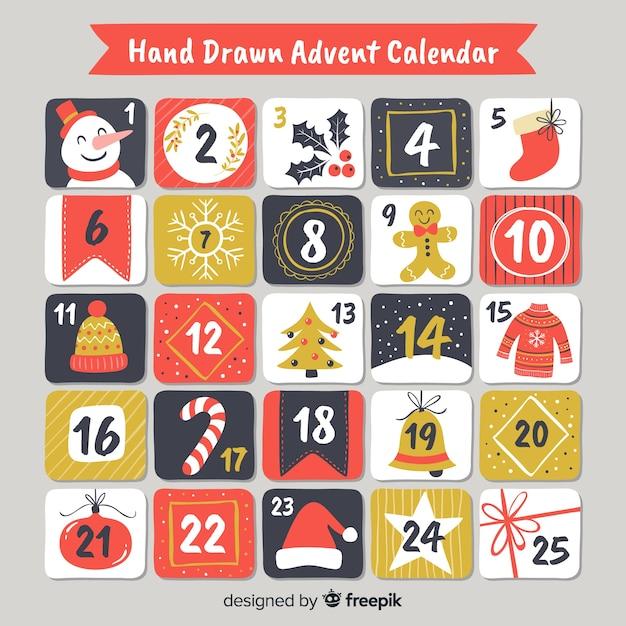 Calendario adviento dibujado a mano vector gratuito