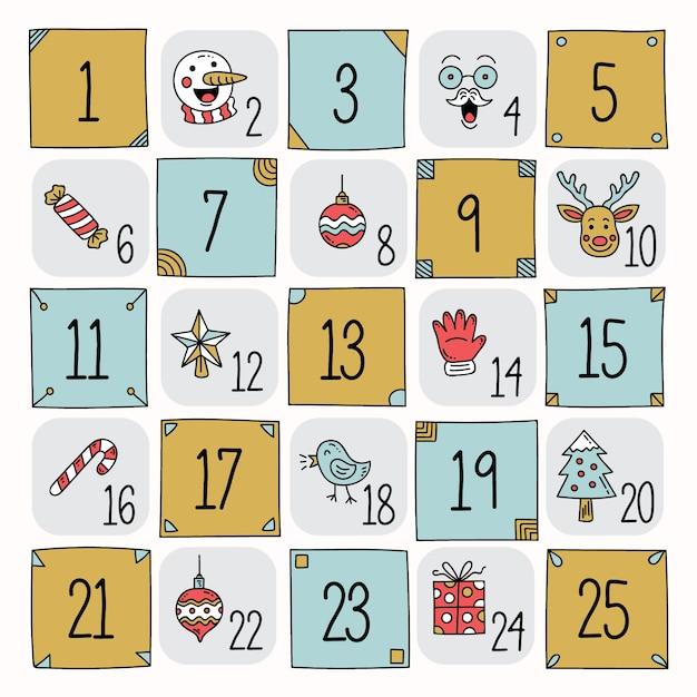 Calendario de adviento dibujado a mano vector gratuito
